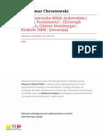 Hermeneutyka Biblii Żydowskiej i Starego Testamentu Recenzja Prof. Chrostowski Collectanea_Theologica-r2008-t78-n2-s207-216