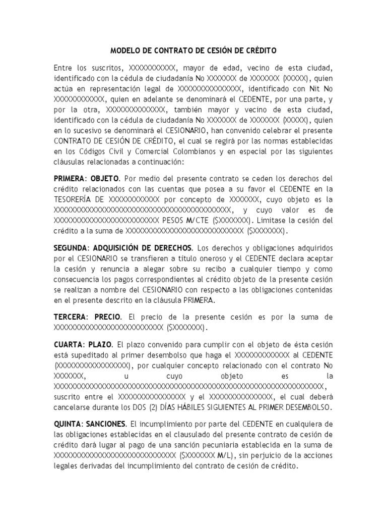 MODELO DE CONTRATO DE CESIÓN DE CRÉDITO EN COLOMBIA
