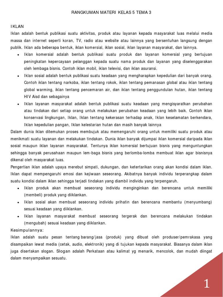 Rangkuman Materi Kelas 5 Tema 3