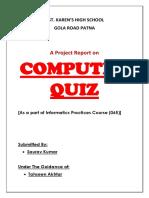 Informatics Practices Project - Computer Quiz Class XII