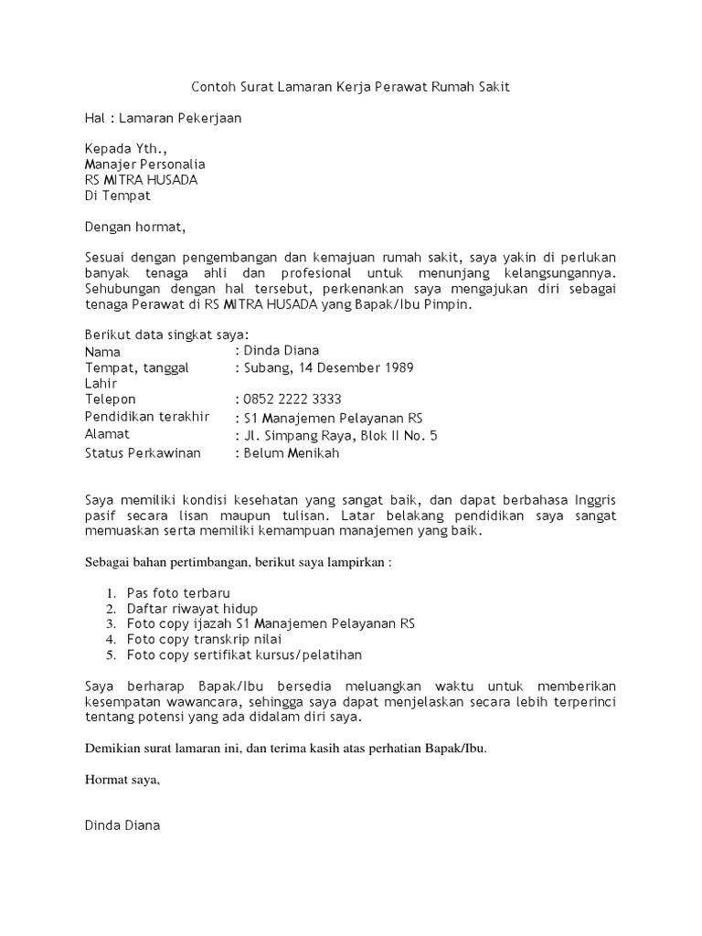Contoh Surat Lamaran Kerja Perawat Rumah Sakit