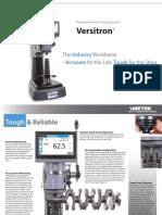 Rockwell Hardness Tester Versitron Spec Sheet