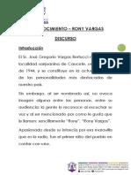 Discurso - Reconocimiento Rony Vargas