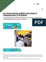 Evo Afirma Que Hay Pedidos Para Anular El Referéndum Del 21 de Febrero - Diario Pagina Siete
