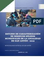 Estudio de Caracterizacion de Rrss Del Distrito de San Anton 2015