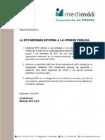 Comunicado de Medimás EPS