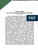 Hermann Cohen Und Die Erneuerung Der Kantischen Philosophie (E. Cassirer)
