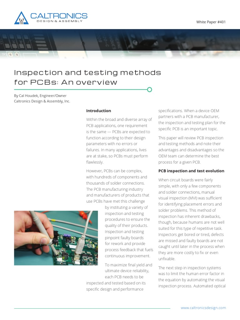 Inspection and Testing Methods for PCBs an Overview