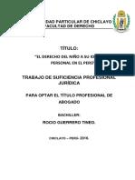 El Derecho Del Niño a Su Identidad Personal en El Peru