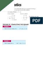Chapter 1 Notes Quadratics