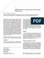 4. Metabolic Equivalents (METS) in Exercise Testing, Exercise Prescription and Evaluation of Functional Capacity