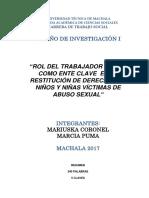 Ensayo Rol del Trabajador Social como ente clave en la restitución de derechos en niñs y niñas víctimas de abuso sexual