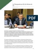 13/Diciembre/2017 Aprueba Congreso Presupuesto Por 64 Mil Millones de Pesos Para Sonora