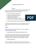 Cuestionario Tecnica Dietettica