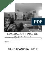 EVALUACION FINAL DE MATEMATICA 4°B 2017