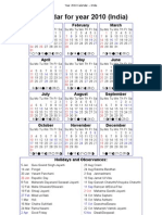 Year 2010 Calendar – India