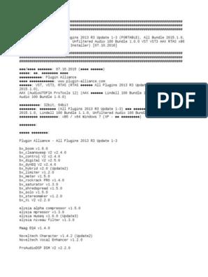 Plugin Alliance - All Plugins 2013 R3 Update 1-3 (PORTABLE), All