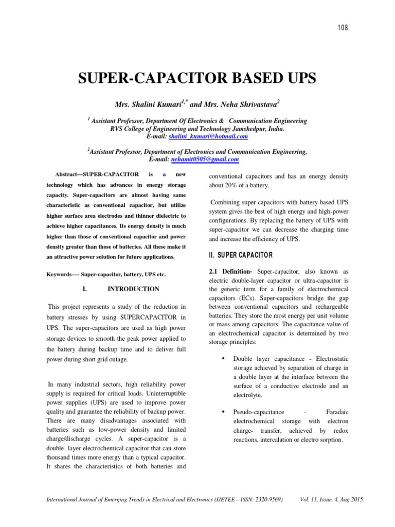 Super Capacitor Based Ups Battery Electricity In This Circuit A Supercapacitor Is Charged From It S