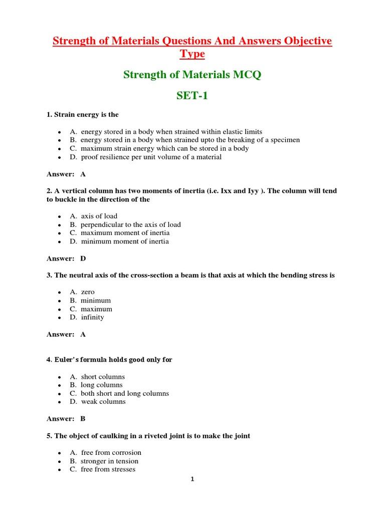 Klu Som Objective Questions | Bending | Stress (Mechanics)