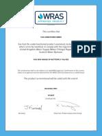WRAS Zertifikat 1612047 EKN VAG Bis December 2021