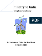 Market Entry to India Venturing Renewable Energy