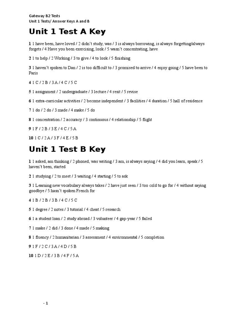 Nowość Gateway B2 Test 1 Key.doc RZ43