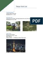 Tokyo Visit List