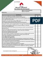 37 Pre-lift Checklist Crane Operators and Riggers