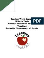tapia teacher work sample