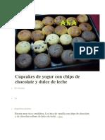 Cupcakes de Yogur Con Chips de Chocolate y Dulce de Leche