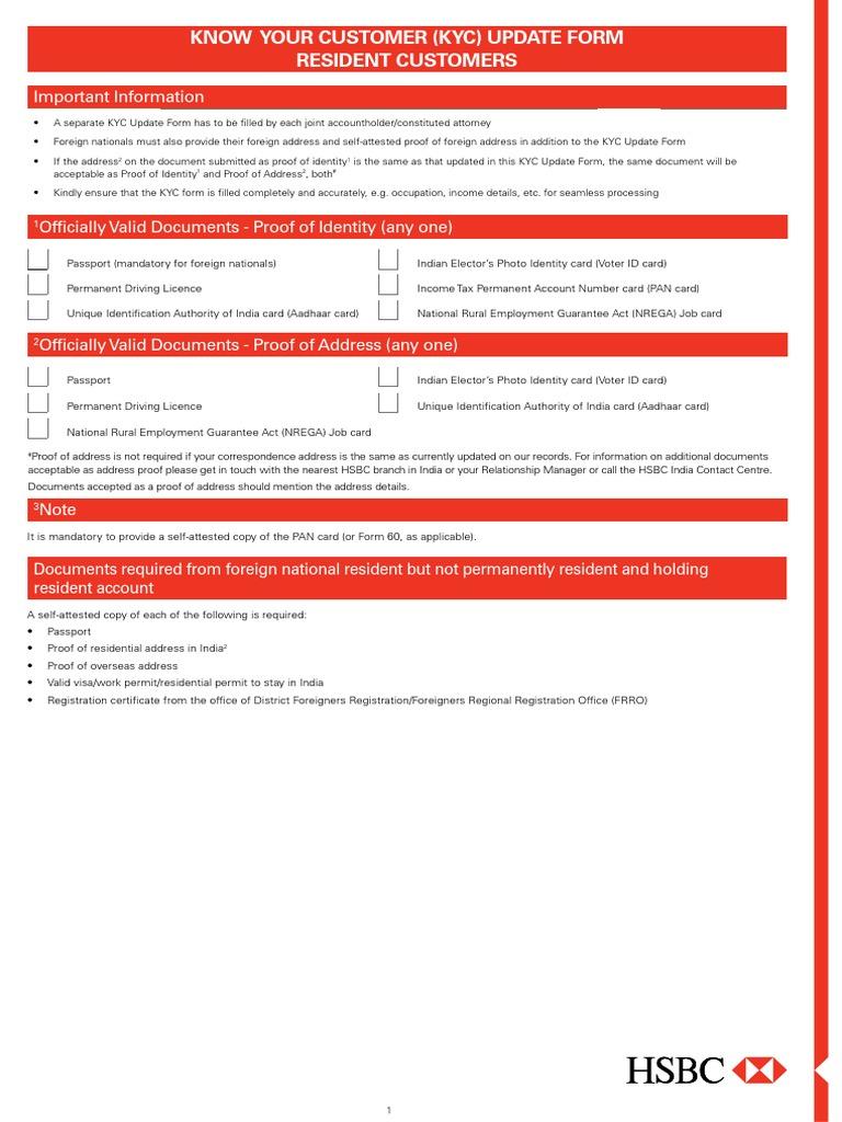 Kyc Self Declaration   Identity Document   Government