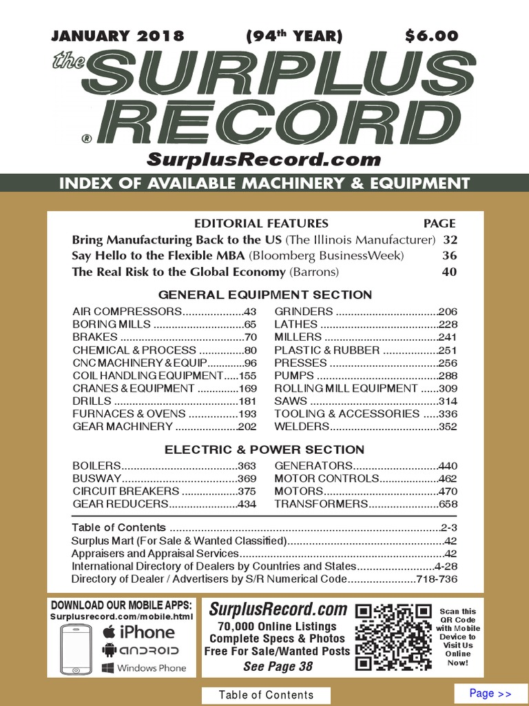 January 2018 Surplus Record Machinery Equipment Directory 48205 4wire Flat Connector Vehicle To Trailer Wiring Numerical Control Drill