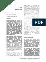 Estructura documental del sistema de gestión de la calidad.
