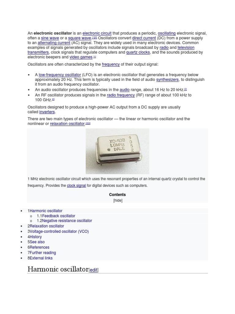Tutorial On Oscillators Electronic Oscillator Filter The With Variety Of Analog Sounds Oscillatorcircuit