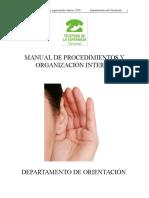 Manual de Procedimientos y Organizacion Interna Orientacion 2015 Borrador