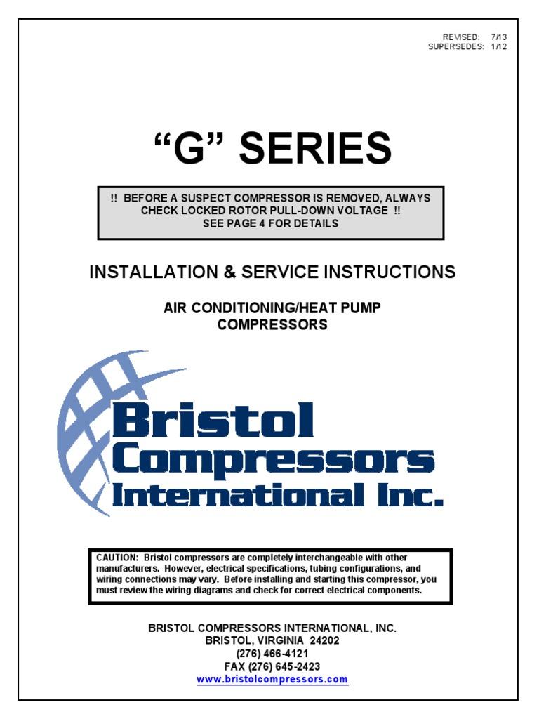 bristol compressor g_series air conditioning pump Basic Compressor Wiring Diagram