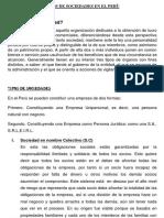 Tipos de Sociedades en El Perù
