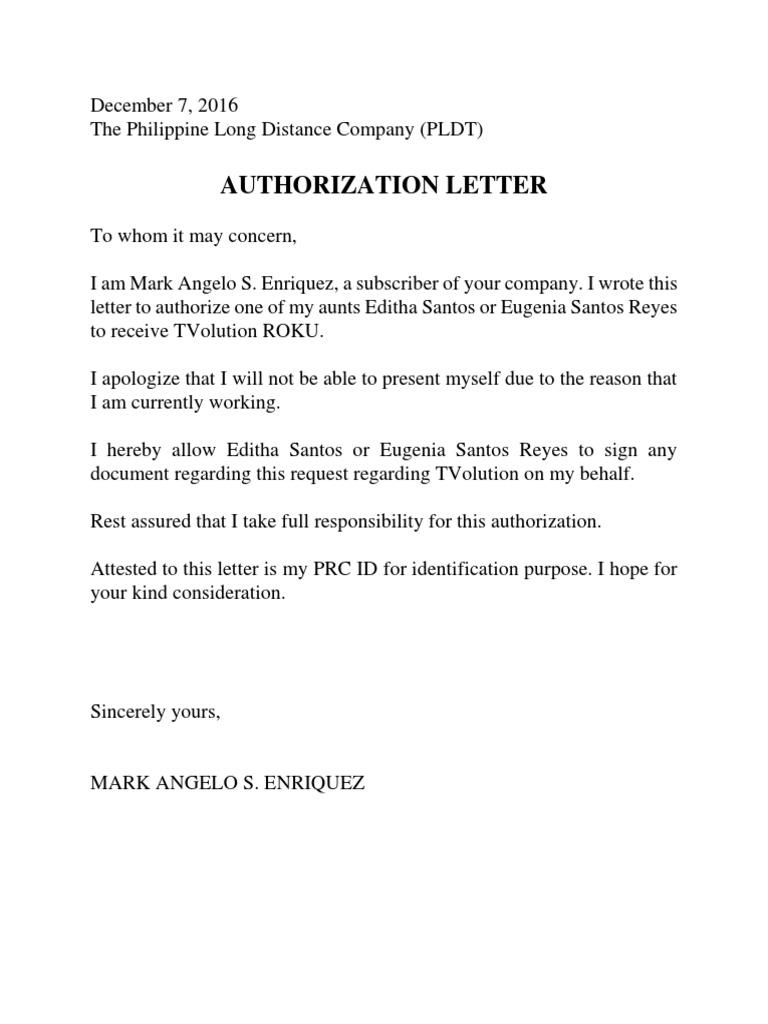 282982070 pldt authorization letter sample spiritdancerdesigns Gallery