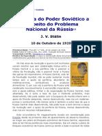 Stalin A Pol Do Poder Sovietico Problema Nacional 1920
