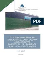 Estudio de Vulnerabilidad Edificación Colegio de Salerno Sede Bachillerato