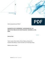 Diagnóstico Del Desempeño y Necesidades de Los Institutos Públicos de Investigación y Desarrollo Del Perú