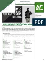 Seguridad Publica y Ciencias Forenses Universidad Tecnológica de Nayarit