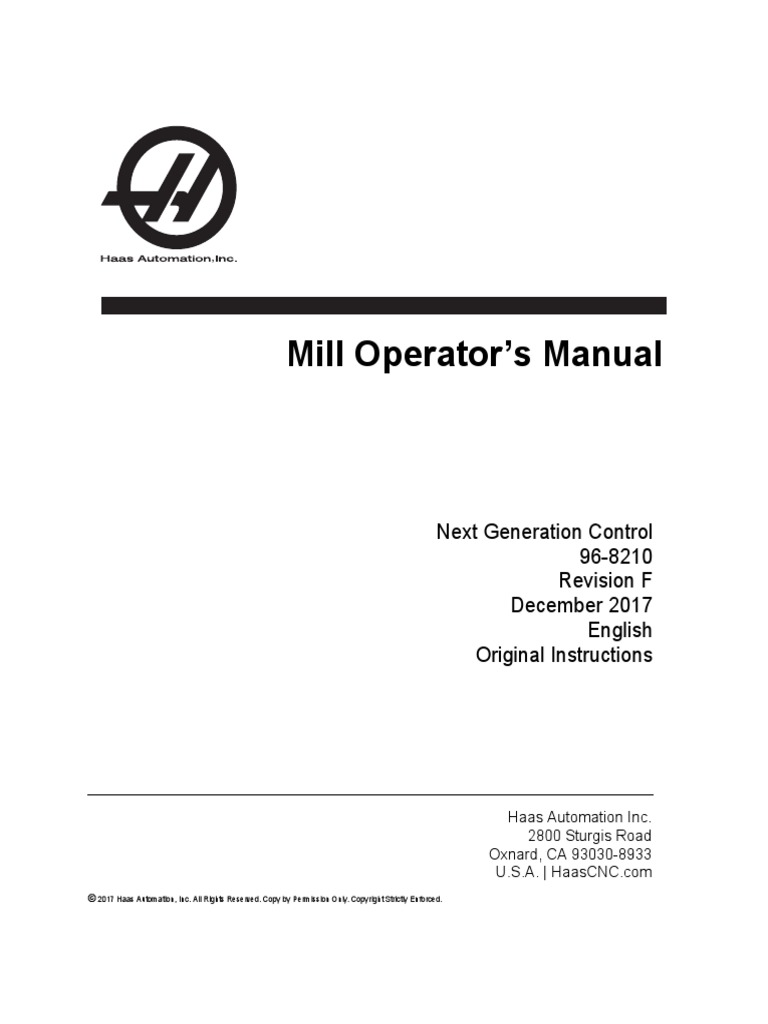 Haas Mill Operators Manual NGC English | Damages | Implied