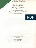 Gershom Scholem - Du Frankisme Au Jacobinisme