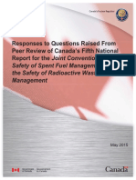Responses to Questions Fifth Report Joint Convention Safety of Spent Fuel Management and Safety of Radioactive Waste
