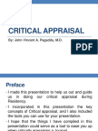 Critical Appraisal by John Vincent Pagaddu, M.D.