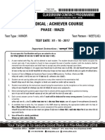 Neet Ug Minor Test P-1122