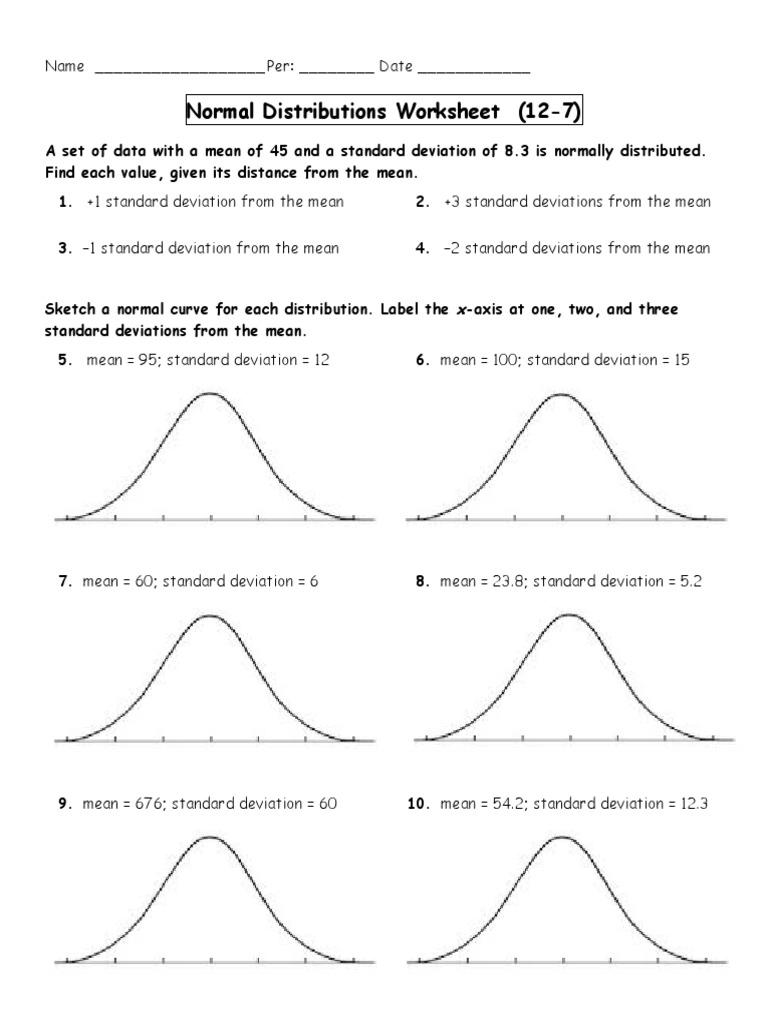 Normal Distributions Worksheet 3 | Standard Deviation | Normal ...