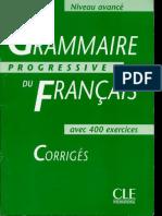 Grammaire Progressive Du Francais Avance Corriges