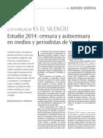 La Orden Es El Silencio Estudio 2014 Censura y Autocensura